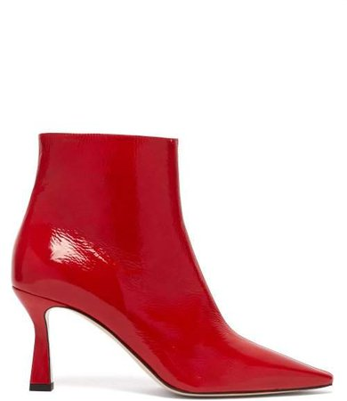 Lina Point Toe Leather Ankle Boots - Womens - Red