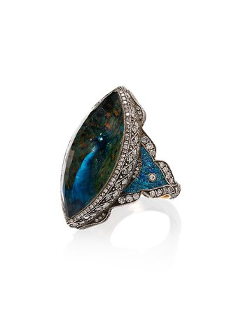 Sevan Bicakci Diamond Blue Quartz Peacock Ring | Farfetch.com