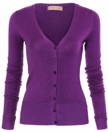 KRISP Turn Up Sleeve Fine Knit Purple Cardigan - WOMENS from Krisp Clothing UK