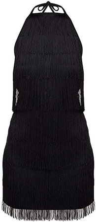 Amazon.com: L'VOW Women' Sexy Open Back Skirt Bodycon Gatsby Cocktail Party Fringed Flapper Costume Dress: Clothing