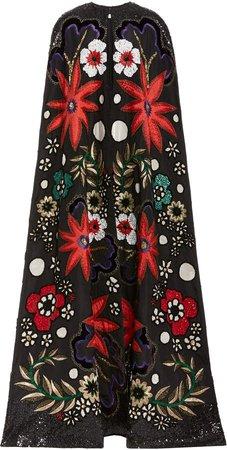 Naeem Khan Embroidered Silk Cape