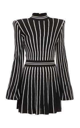 Striped Pleated Jersey Dress By Balmain | Moda Operandi