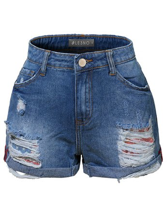 Casual Distressed Ripped Mid Rise Denim Shorts with Rolled Cuff | LE3NO blue