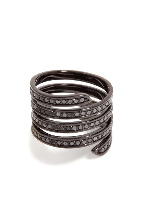 Black Rhodium Pavé Coil Ring Gr. 8