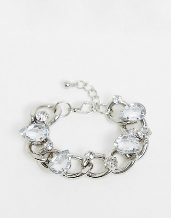 ASOS DESIGN bracelet in curb chain with crystal embellishment in silver tone | ASOS