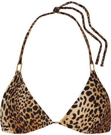 Cancun Leopard-print Triangle Bikini Top - Tan