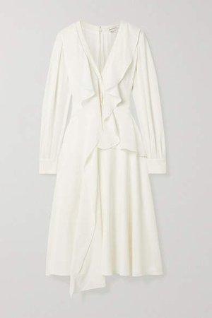 Ruffled Silk-georgette Midi Dress - Ivory