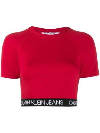 Calvin Klein Jeans Logo Band Cropped Top - Farfetch