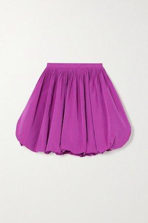Pleated Cotton-blend Faille Mini Skirt - Pink
