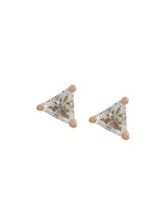 Delfina Delettrez 18Kt Champagne Gold Dots Solitaire Trillion Diamond Stud Earrings TRIANGLEPAIRPG | Farfetch