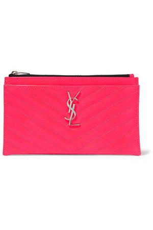 SAINT LAURENT | Monogramme neon quilted textured-leather pouch | NET-A-PORTER.COM
