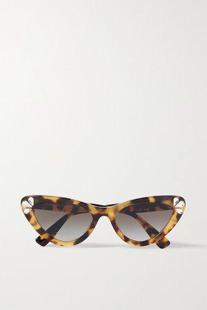 Tortoiseshell Cat-eye crystal-embellished tortoiseshell acetate sunglasses | Miu Miu Eyewear | NET-A-PORTER