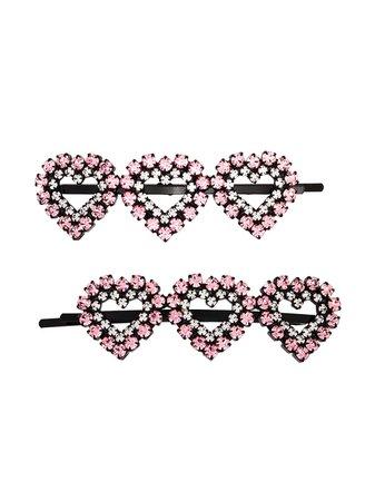 Ashley Williams Heart Crystal Hair Clips - Farfetch