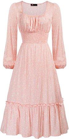 Amazon.com: KANCY KOLE Women's Smocked Waist Dress Long Sleeve Ruffle Long Maxi Dress with Side Split S-XXL: Clothing