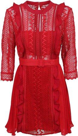 Self-Portrait Red Geometric Lace Dress