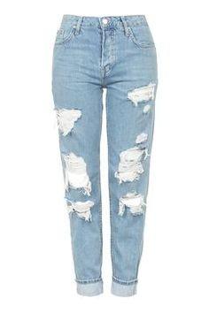 Distressed Boyfriend Jeans - TOPSHOP MOTO