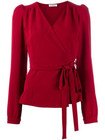 Red P.A.R.O.S.H. wrap V-neck blouse PIRATYXD311182 - Farfetch