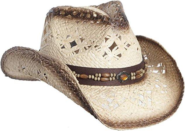 Vamuss Straw Cowboy Hat W/Vegan Leather Band & Beads, Shapeable Brim (Orange) at Amazon Women's Clothing store