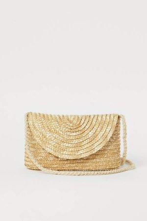 Small Straw Shoulder Bag - Beige