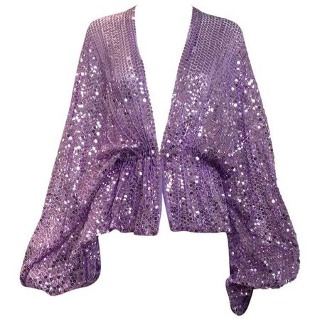 70s Lavender sequin blouse with billowy sleeve