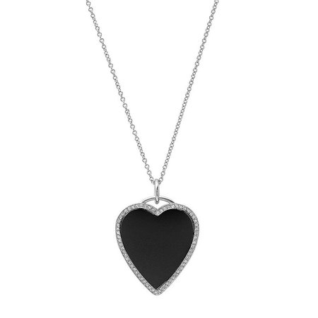 Jennifer Meyer | White Gold Onyx Inlay Heart Necklace with Diamonds