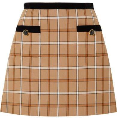 Velvet-trimmed Checked Woven Mini Skirt - Beige