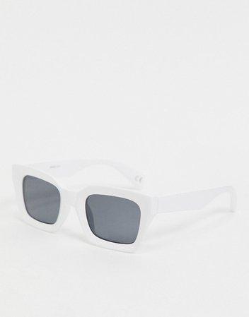 ASOS DESIGN square bevel sunglasses in white | ASOS