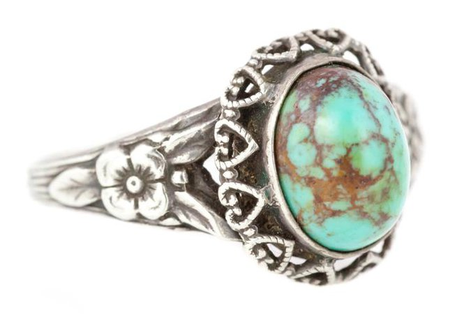 Victorian Silver Turquoise Cabochon Ring with Beautiful Patterned Band – Lillicoco