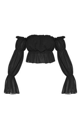 Black Woven Ruffle Bardot Flared Sleeve Blouse | PrettyLittleThing