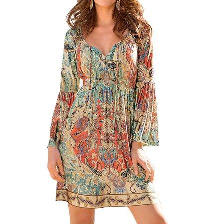 ZXZY - ZXZY Boho Style Women Dress Long Sleeve Beach Summer Dresses Floral Print Vintage Maxi Dress - Walmart.com
