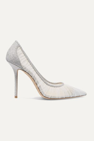 Jimmy Choo | Love 100 glittered tulle and canvas pumps | NET-A-PORTER.COM