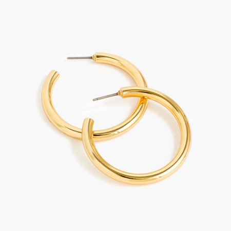 J.Crew: Mini Tube Hoop Earrings In Matte Gold For Women