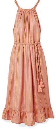 Caspia Striped Gauze Midi Dress - Coral