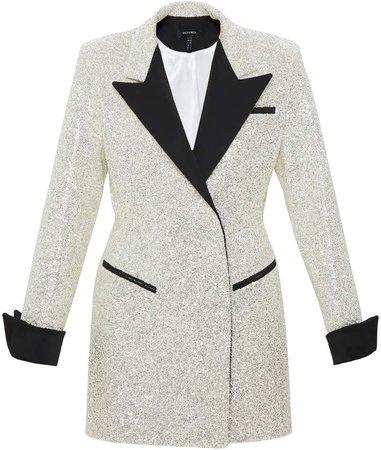 Mach & Mach Glitter Blazer Dress With Black Collar