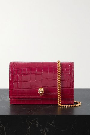 Red Skull croc-effect leather shoulder bag | Alexander McQueen | NET-A-PORTER