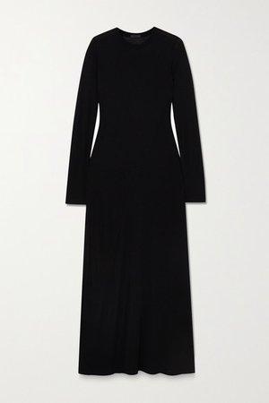 Paneled Modal-jersey Maxi Dress - Black