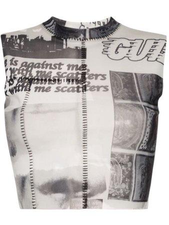 Danielle Guizio Cropped newspaper-print Top - Farfetch