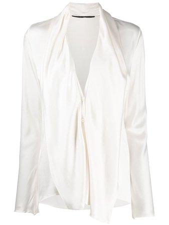 White Haider Ackermann draped panel blouse - Farfetch