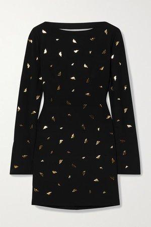 Lisandra Embellished Cutout Draped Crepe Mini Dress - Black