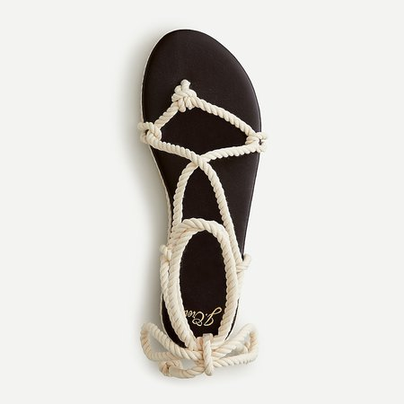 J.Crew: Rope Lace-up Flat Sandals For Women ivory