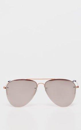 Pink Lens Rose Gold Aviator Sunglasses | PrettyLittleThing