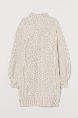 Cable-knit Dress - Beige