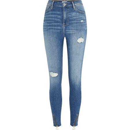 Blue zip hem Hailey high rise skinny jeans | River Island