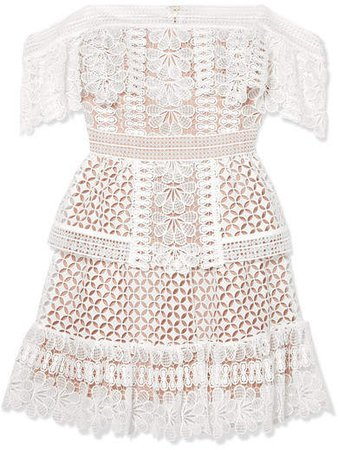 Off-the-shoulder Guipure Lace Mini Dress - Ivory