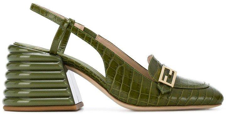Promenade crocodile-embossed slingback loafers