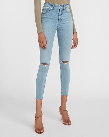High Waisted Supersoft Ripped Raw Hem Skinny Jeans