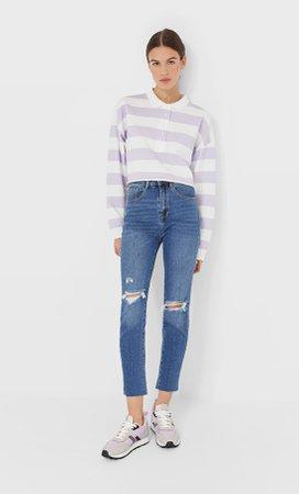 Slim fit high-waist jeans - Women's Jeans | Stradivarius United Kingdom