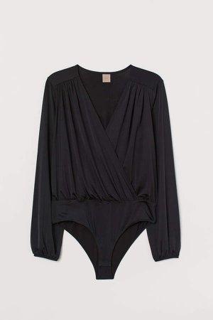 H&M+ Wrapover Bodysuit - Black
