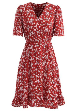 Blissful Floret Print Frill Hem Wrap Midi Dress in Red - Retro, Indie and Unique Fashion