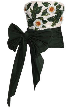 Embellished silk-jacquard and taffeta top | OSCAR DE LA RENTA | Sale up to 70% off | THE OUTNET